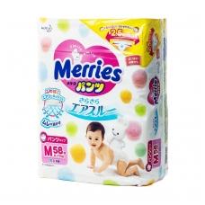 MERRIES sauskelnės-kelnaitės kūdikiams, M dydis (6–11 kg), 58 vnt.