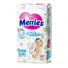 MERRIES sauskelnės kūdikiams, L dydis (9–14 kg), 54 vnt.