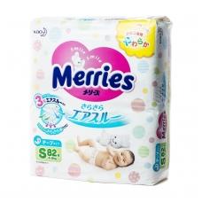 MERRIES sauskelnės kūdikiams, S dydis (4-8 kg), 82 vnt.