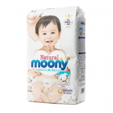 MOONY NATURAL ekologiškos sauskelnės kūdikiams, M dydis (6-11 kg), 48 vnt.