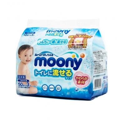 """""""MOONY"""" drėgnos servetėlės vaikams (tirpios vandenyje), 3x50 vnt."""