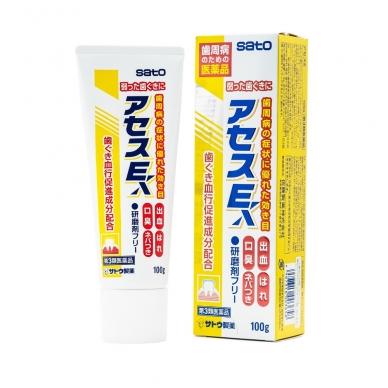 """""""SATO ACESS EX"""" dantų pasta su augaliniais ekstraktais ir vitaminu E (periodonto profilaktikai), mėtų skonio, 100 g"""